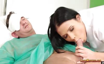 Beautiful nurse gives patient blowjob