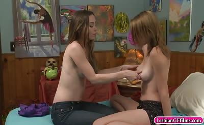 Cece and Capri pleasuring each other's sweet pussies in bed