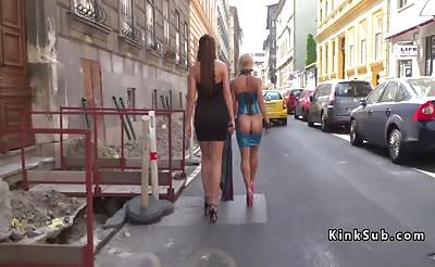 Tall mistress disgraced bare ass blonde in public
