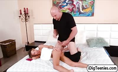 Kenzies petite pussy stretched by a monster size dick