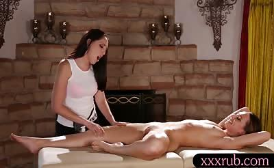 Hot masseuse Nickey lesbosex with Aidra after massage
