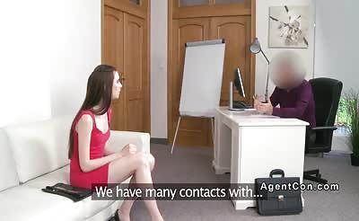 Pale babe gets doggy style in casting