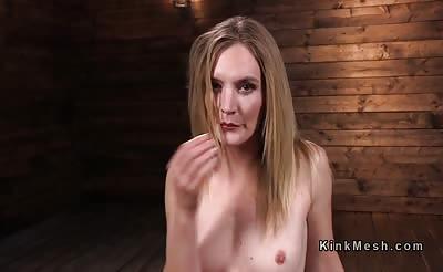 Blonde in red stockings ride fucking machine