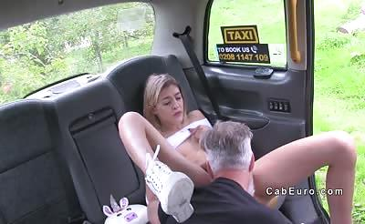 Petite blonde toyed and banged in cab