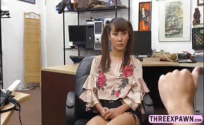 Hot asian chick Tiffany Rain recieves a hard pussy fuck
