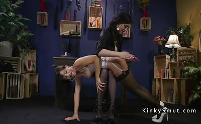 Hot lesbian spanked and anal fucked