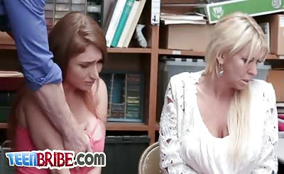 Thief with big tits banged by stranger