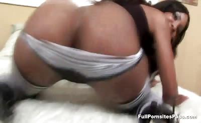 Big ass ebony hottie takes cock