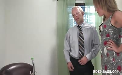Hot mistress Gwen spanks and rides guy