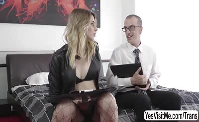 Chad Diamond gets banged her tight ass by Trans Casey dick