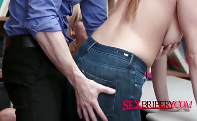 Amazing redhead babe rides hard on officers cock