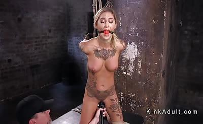 Hogtied suspended blonde pussy paddled