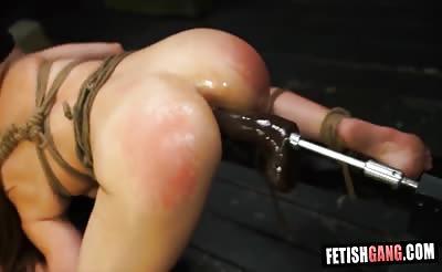 Fucked with Big Dildo Machine