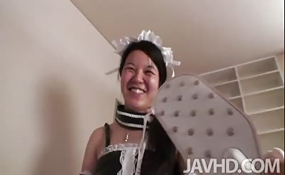 JavHD - Eri Yoshino dressed up as a maid uses a whip and paddle on a virgin ass