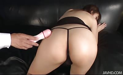 JavHD - Riona Suzune looks sexy in black and her husband bends her over to toy her pink pussy with a vibrator until she cums