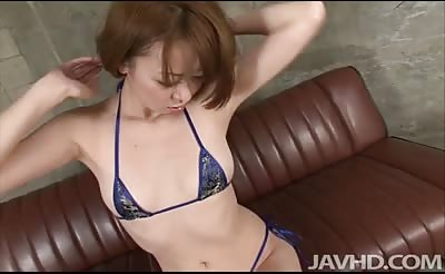 JavHD - Misato Sakurai in a string bikini is doing an interview when her interviewer decides to test her depth of sexuality and she fingers and toys her tits and pussy