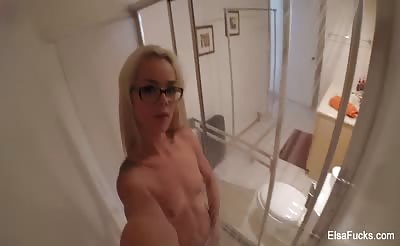 Elsa brings a camera with her into the shower