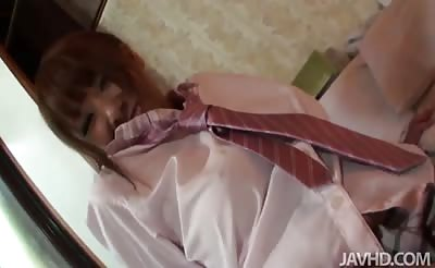 JavHD - Big titty teen Asuka in a schoolgirl uniform riding a hard cock while her tits sway to and fro