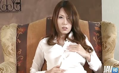 JavHD - Yui Hatano in a see through shirt begins to fondle her tits and toy her pussy