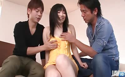 JavHD - Hina Maeda finds herself in between two horny guys who vie to stuff her mouth full of dick