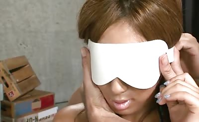 JavHD - Hina Maeda's pretty face is blindfolded before two horny guys abuse her soft and silky body