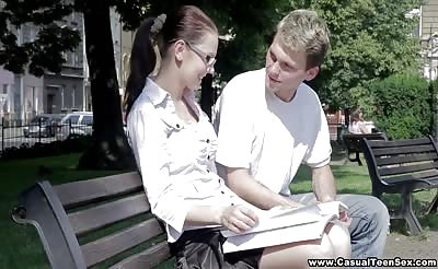 Casual sex with college nerd