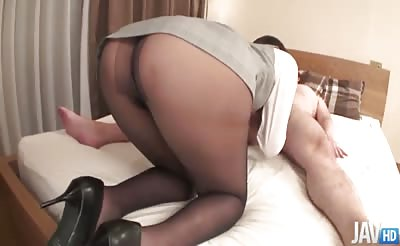 JavHD - Mai Asahina takes on a thick dick in her pantyhose riding it hard