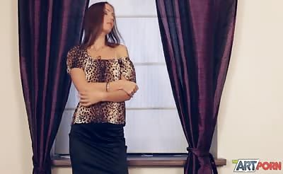 Hot artistic porn movie with a sassy brunette