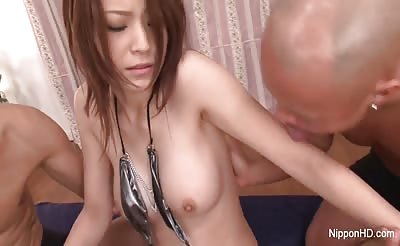 Hot Asian gives double bj and gets a double creampie