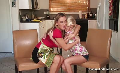 Gorgeous MILF teases hot blonde teen