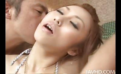 JavHD - Two horny guys give innocent looking Saki Kozakura a full body massage