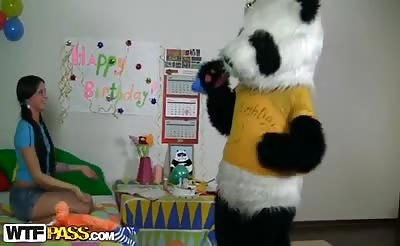 Began to play with a big dick toy panda